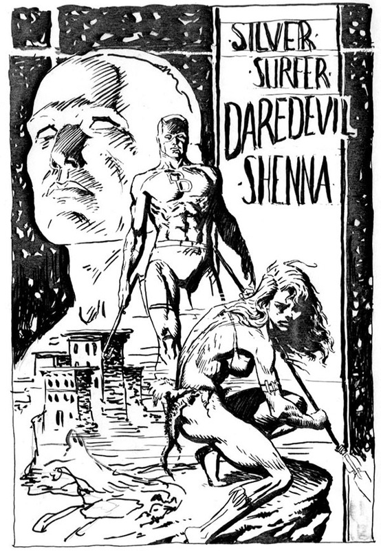 ink rough - drawing of silver surfer, daredevil, and shenna by sandy plunkett
