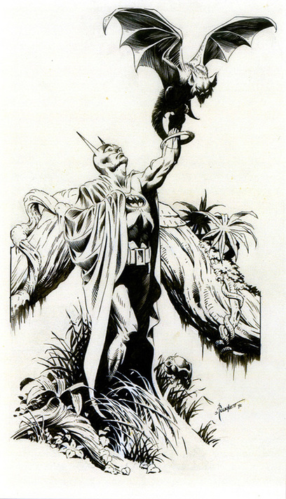 Batman inked by comic artist Sandy Plunkett
