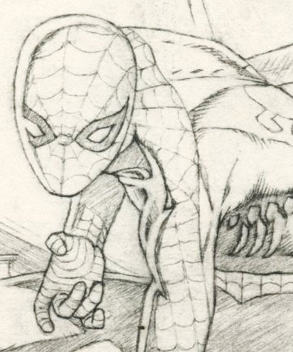 close up of finished pencils with spider-man