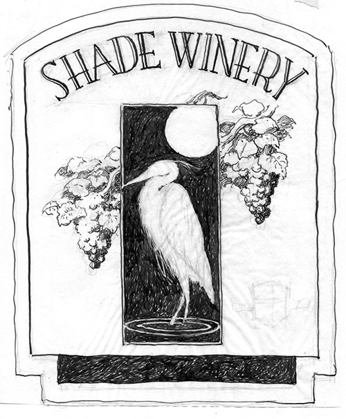wine label design idea for Shade Winery