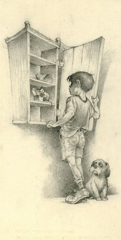 boy looking into empty cabinet -- pencil drawing by sandy plunkett